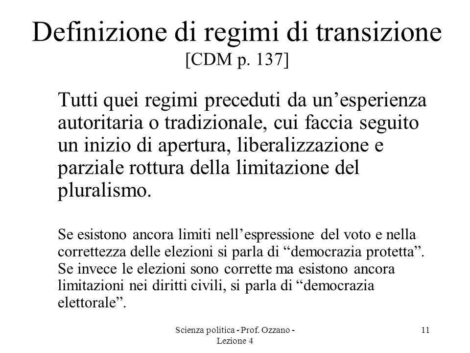 Definizione di regimi di transizione [CDM p. 137]